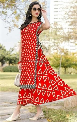 984971cdd0ae #Shop This Classical Ruddy Red Ever stylish #Printed Rayon #Kurti for #Party.  This Latest #Fancy #Style Sleeveless Monochrome #Print #Top For #Churidar  Has ...