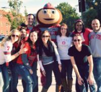 Alumni, Brutus, and cheerleaders celebrate Buckeye pride at the 2012 CPH Alumni Tailgate | College of Public Health