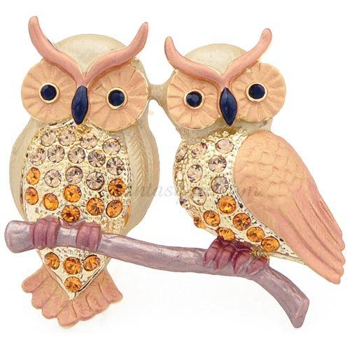 Fantasyard Couple Parrot Crystal Brooch Pin
