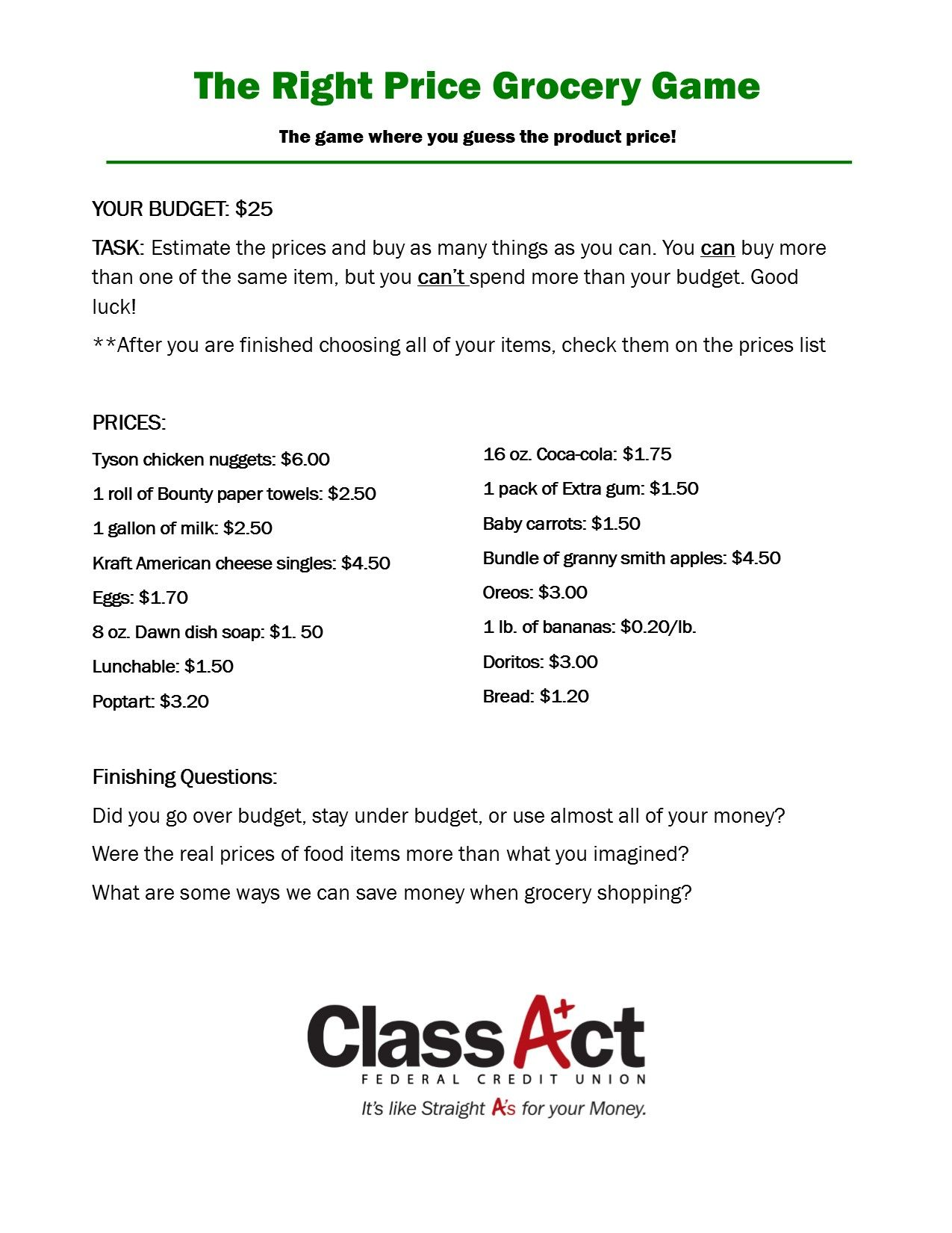 This Is A Financial Classroom Activity For Teachers To Use