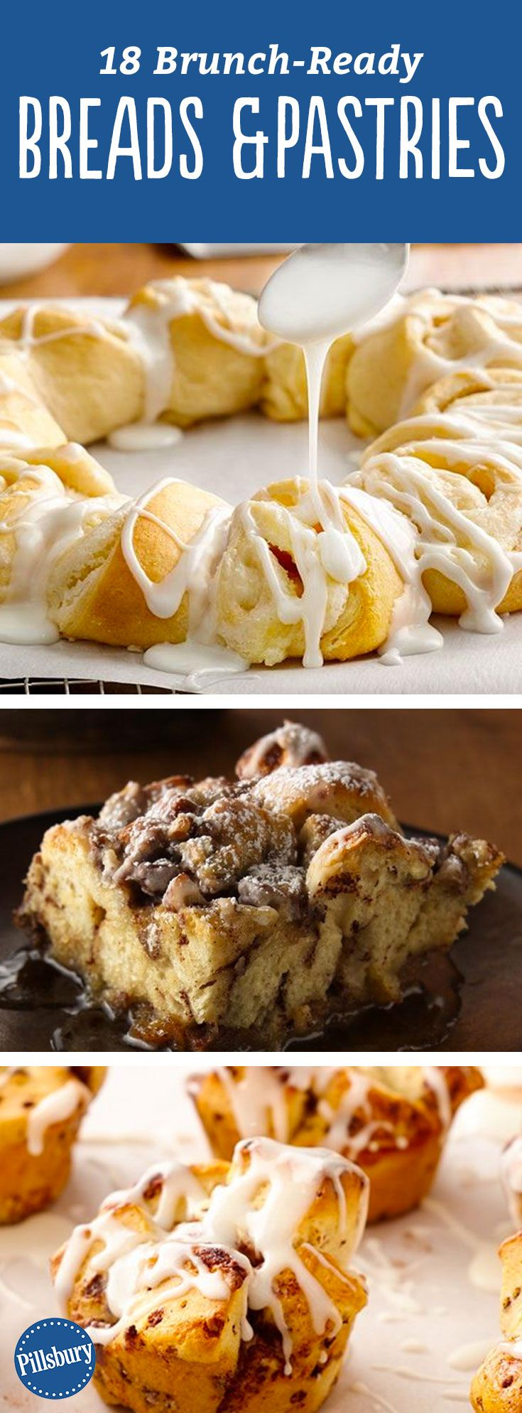 18 Brunch-Ready Breads + Pastries: Delicious monkey breads, DIY pastries, breakfast breads and more will satisfy every sweet tooth at your table. Basically, this is a guide to how to eat dessert for breakfast. :)