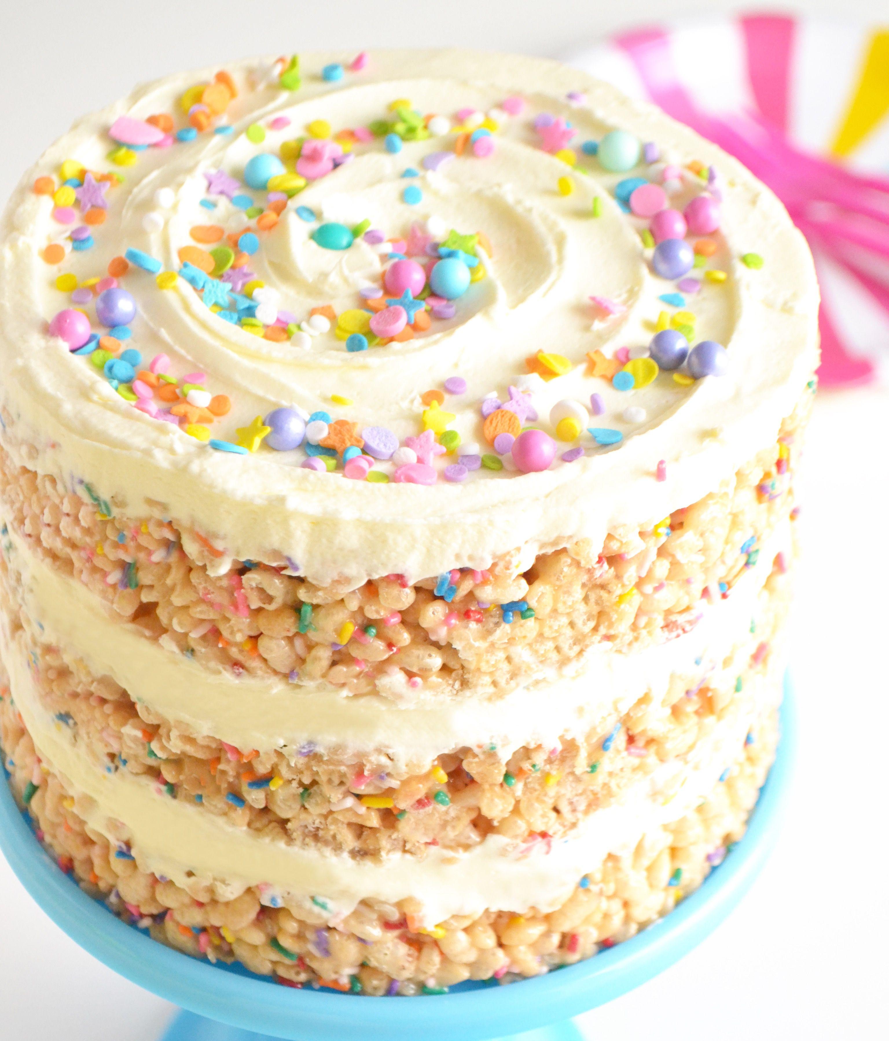 The Best Rice Krispie Birthday Cake