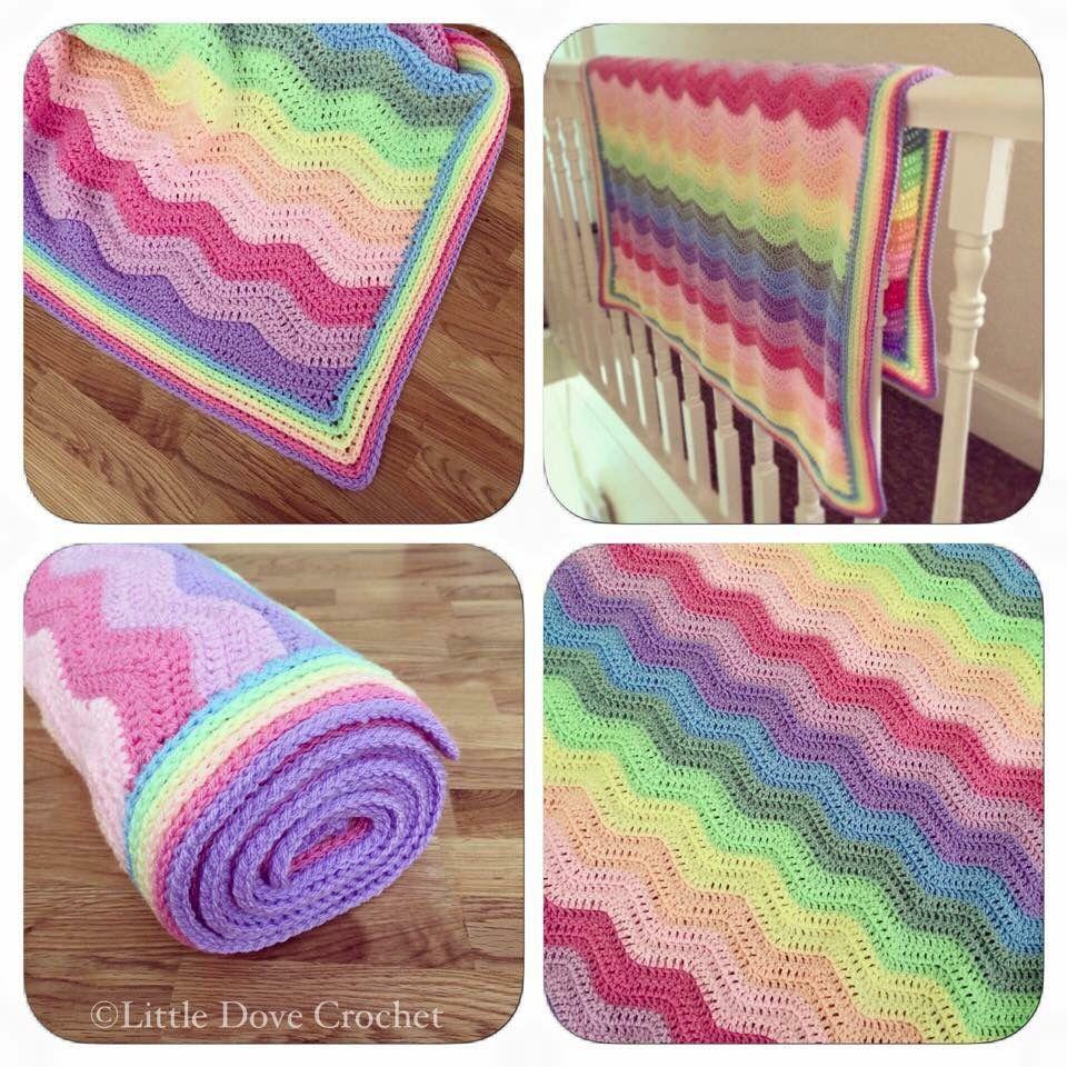 Pastel rainbow ripple crochet blanket by Little Dove Crochet ...