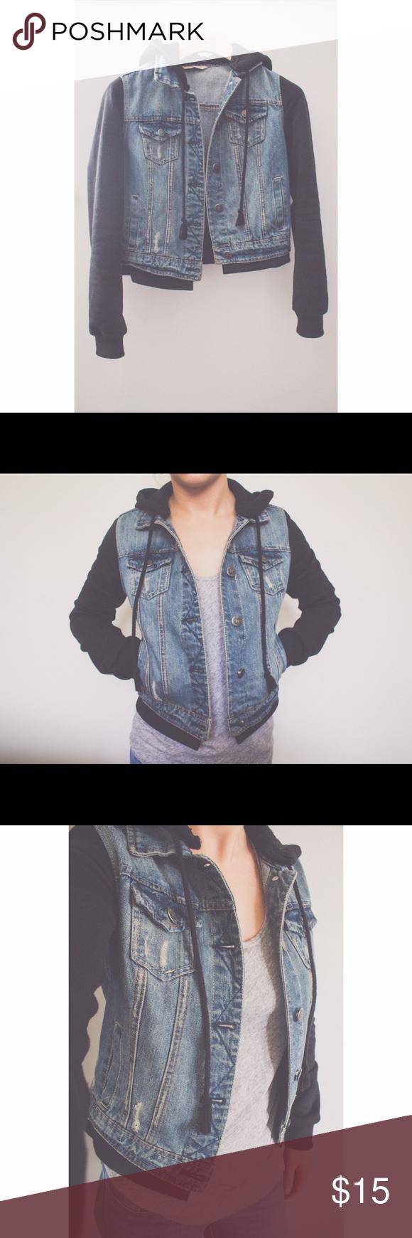 Tilly's hooded jean jacket Denim jacket featuring knit ...