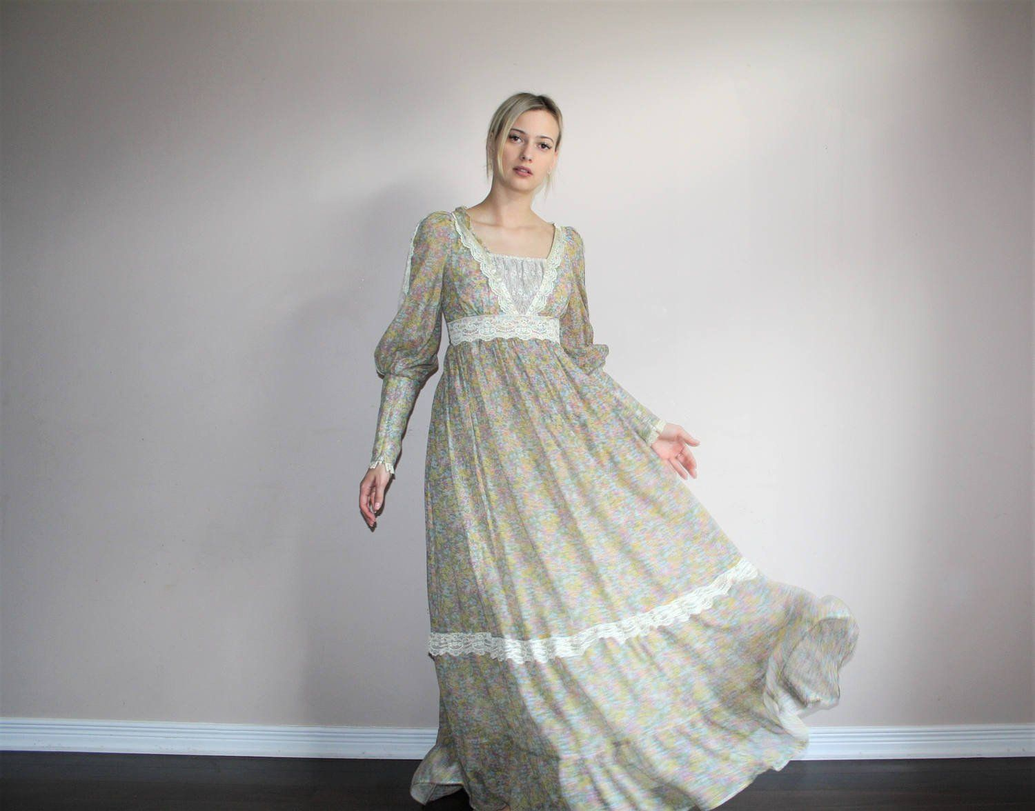 S vintage gunne sax floral lace boho prairie maxi wedding dress