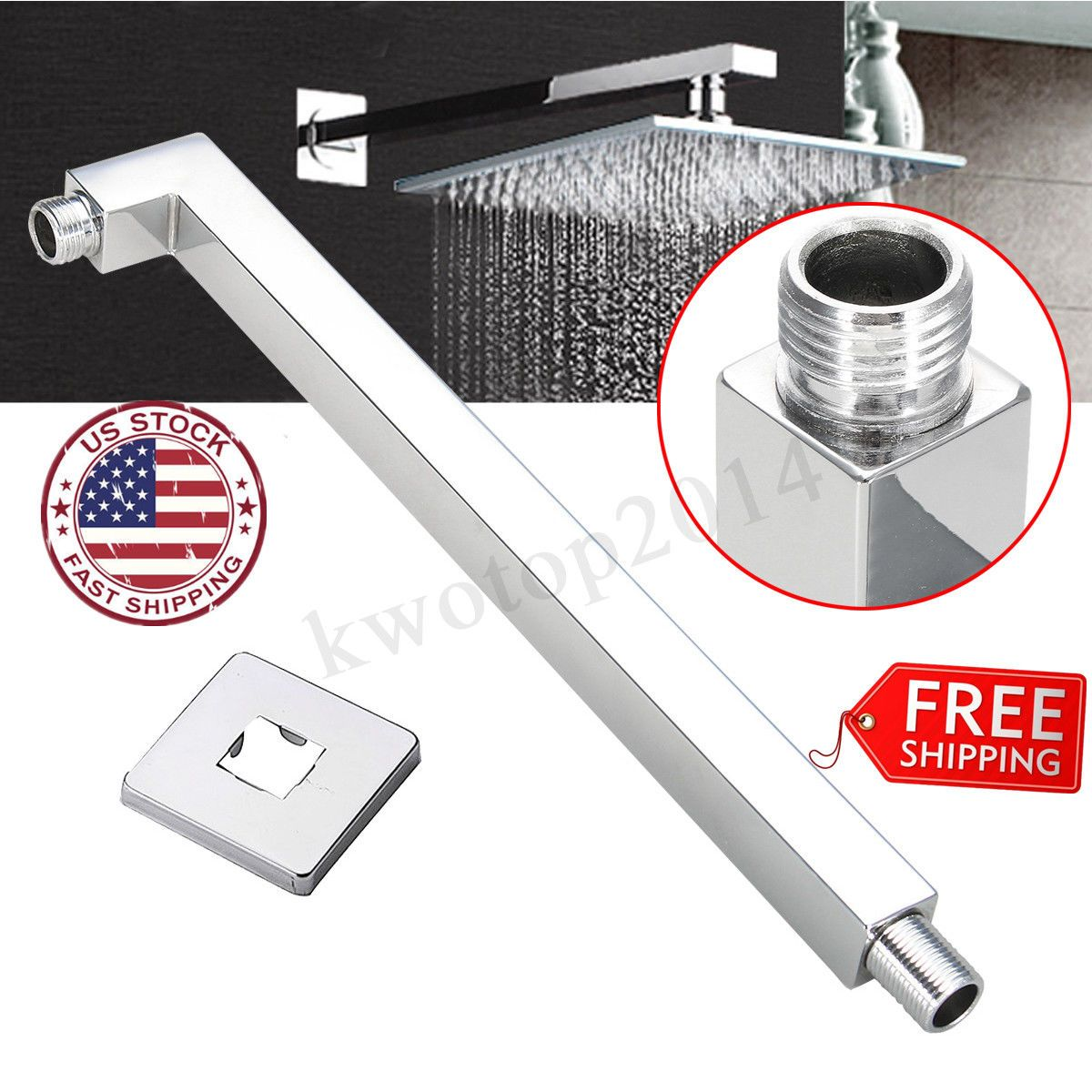 40cm Square Ceiling Rain Shower Head Chrome Wall Mounted Extension Arm 16 Showers Ideas Of Showers Show Rain Shower Head Shower Heads Walk In Shower Kits