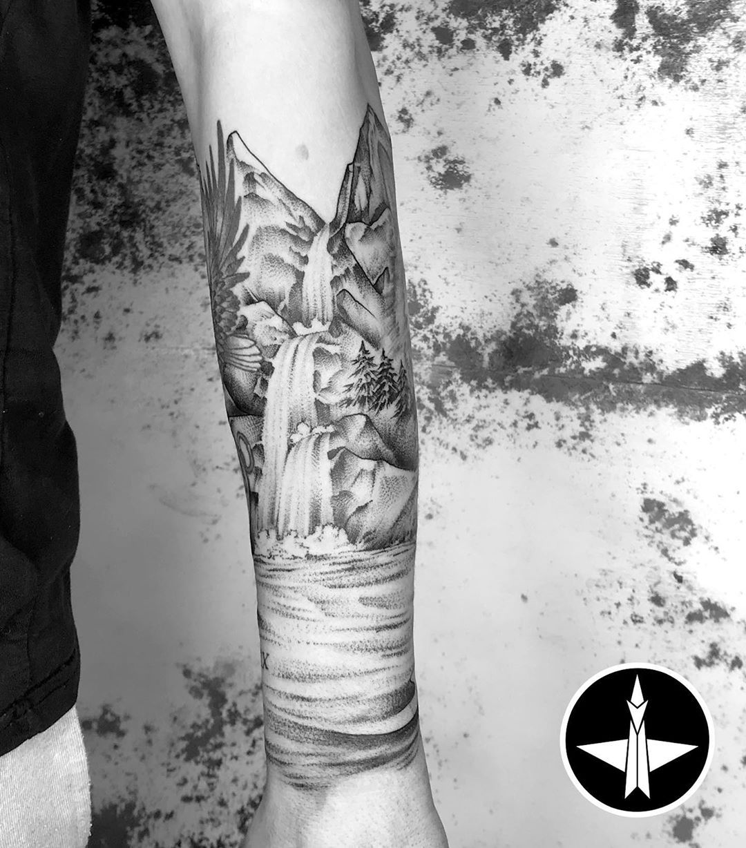 Another one from before .../... Added landscape around some pre-existing tattoos../.... Well sat @jacobabbott1998_ it was a pleasure having you in dude 👍🏻 #tattoo #tattooartist #tattooart #texture #texturetattoo #dotwork #dotworktattoo #stippletattoo #landscapetattoo #landscape #waterfall #blackwork #blackworktattoo #blackworkartist #blackworkers #jakobbelbin