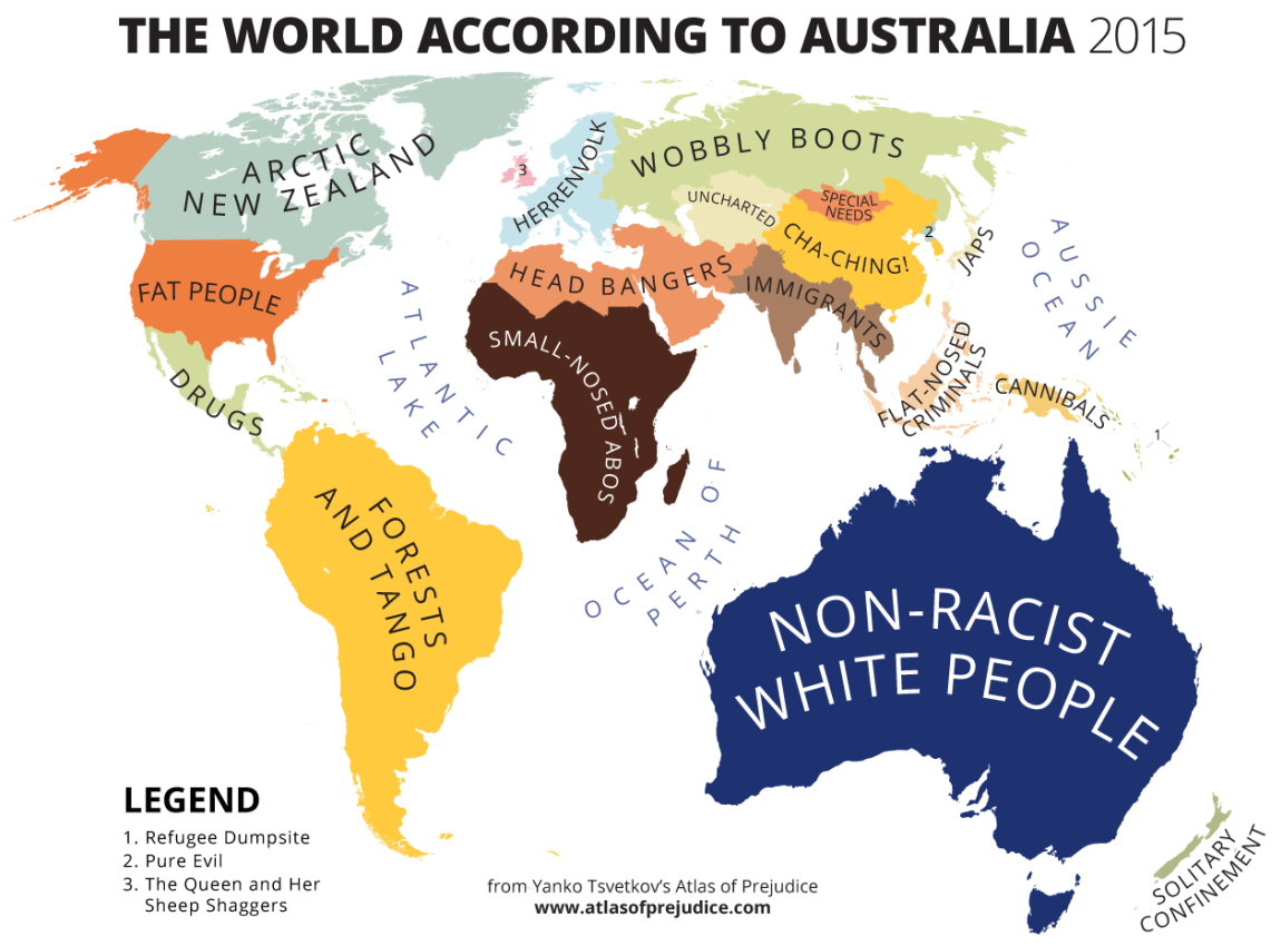Australia Map In World.The World According To Australia Mapping Stereotypes Funny Maps