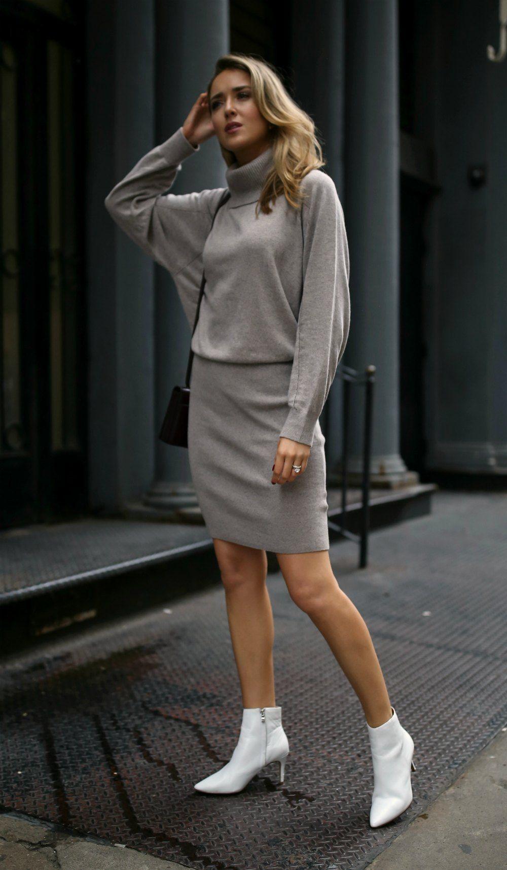 4d32817fc8 Grey long sleeve turtleneck sweater dress