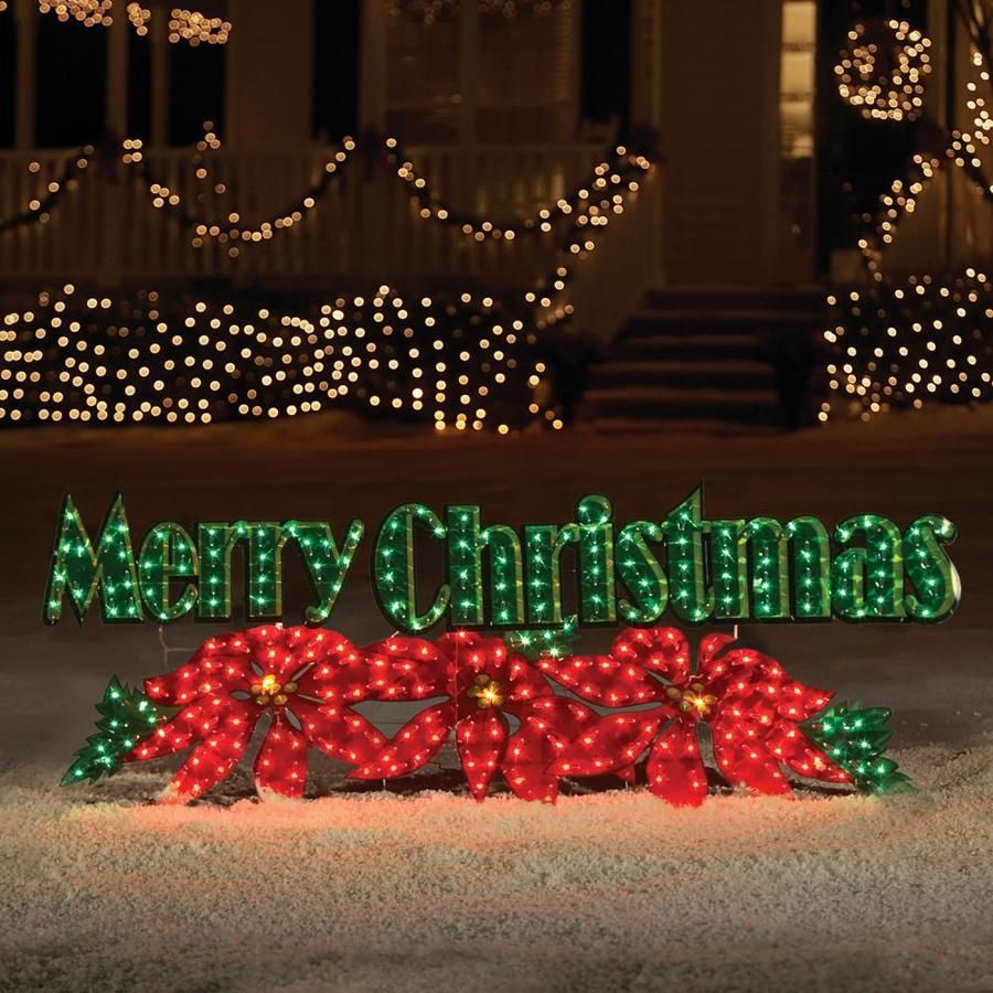 Holiday Living 2 3 In Merry Christmas With White Incandescent Lights Merry Christmas Outdoor Sign Merry Christmas Lighted Sign Christmas Yard Decorations