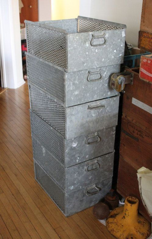 Galvanized Steel Industrial Storage Bins..these Would Be Great In The  Garage! They