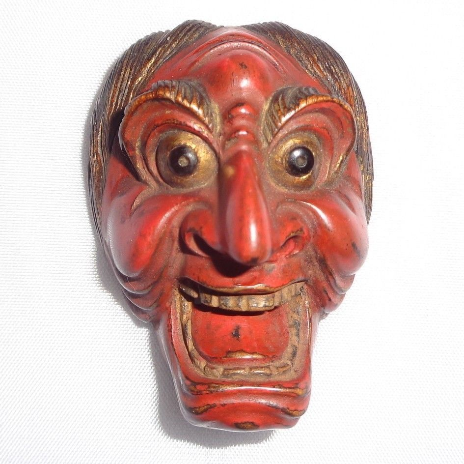 Finely Carved Antique Wooden Japanese Netsuke Mask ca1800s Highest-Quality
