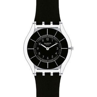 Swatch Women's Skin Black Silicone Swiss Quartz Watch