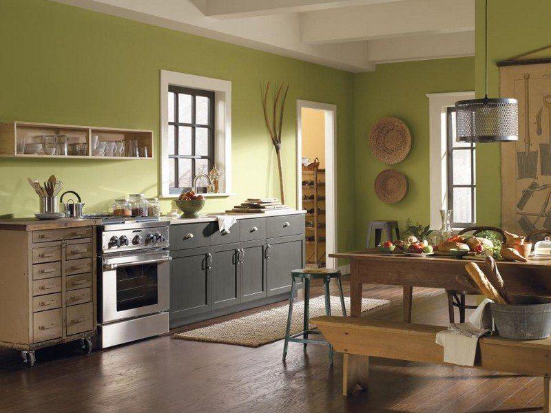 Grüne Wandfarbe in der Küche im Landhausstil | Ideen rund ums Haus ...