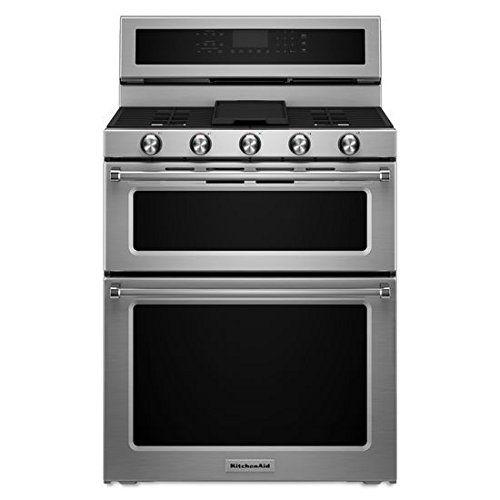 KITCHENAID KFGD500ESS Double Oven Gas Freestanding Range, 6.7 cu. ft. Pyro Self-Clean, 1-16K, 1-10K, 2-5K, 7.3K Oval, Griddle, True Convection, Roller Rack, Glass Controls