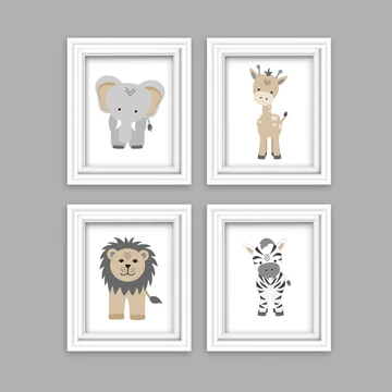 Jungle Safari Animal Nursery Decor Set Of 4 Prints Tribal Nursery Lion Elephant Giraffe Zebra Animal Nursery Decor Safari Animals Nursery Tribal Nursery