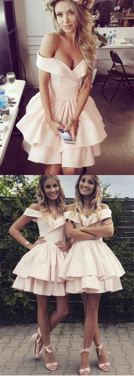 Aline offtheshoulder aboveknee pink tiered homecoming dress