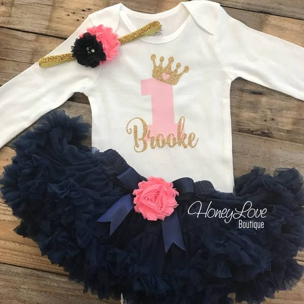 e0baf4068 Personalized 1st Birthday outfit, one number 1 tiara crown princess gold  glitter shirt bodysuit, navy coral pink tutu skirt flower headband birthday  party ...