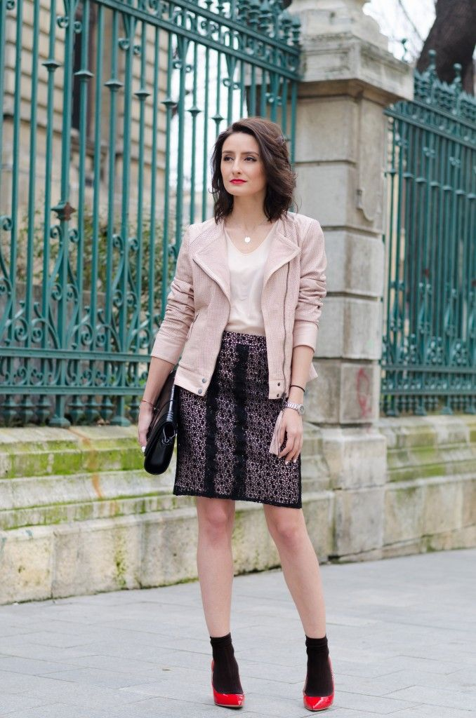 Love this dusty pink leather jacket from Marc Cain
