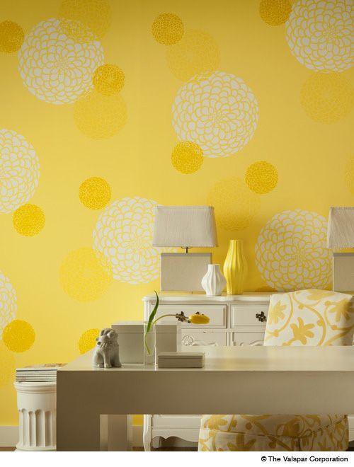 What a fun idea for a wall! (Valspar Cantaloupe Smile & Spring ...