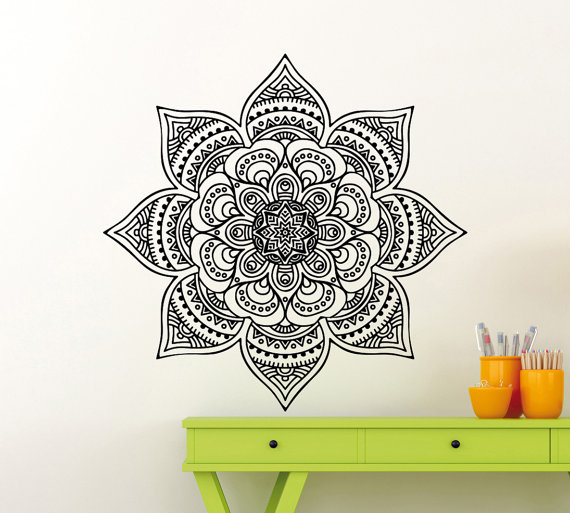 Mandala Wall Sticker Mehndi Ornament Yoga Namaste Lotus Flower Vinyl