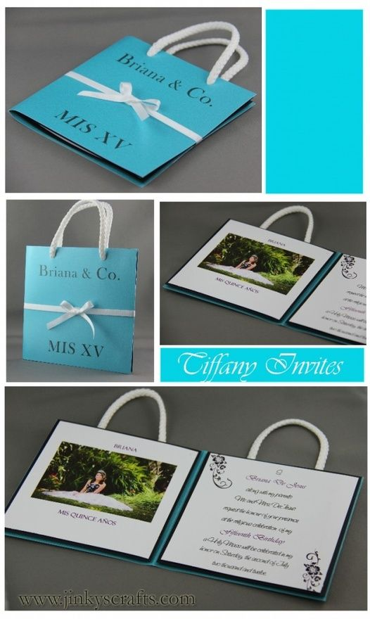 Tiffany Quinceaera/ Sweet 16  Invitation- Bag Style