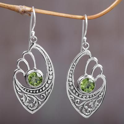 Peridot Dangle Earrings Green Wings Balinese 925 Sterling Silver With