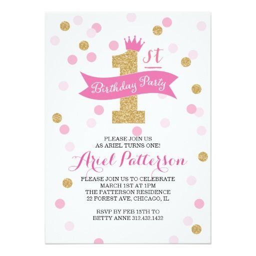 Birthday Party First Birthday Princess Invitation Pinterest