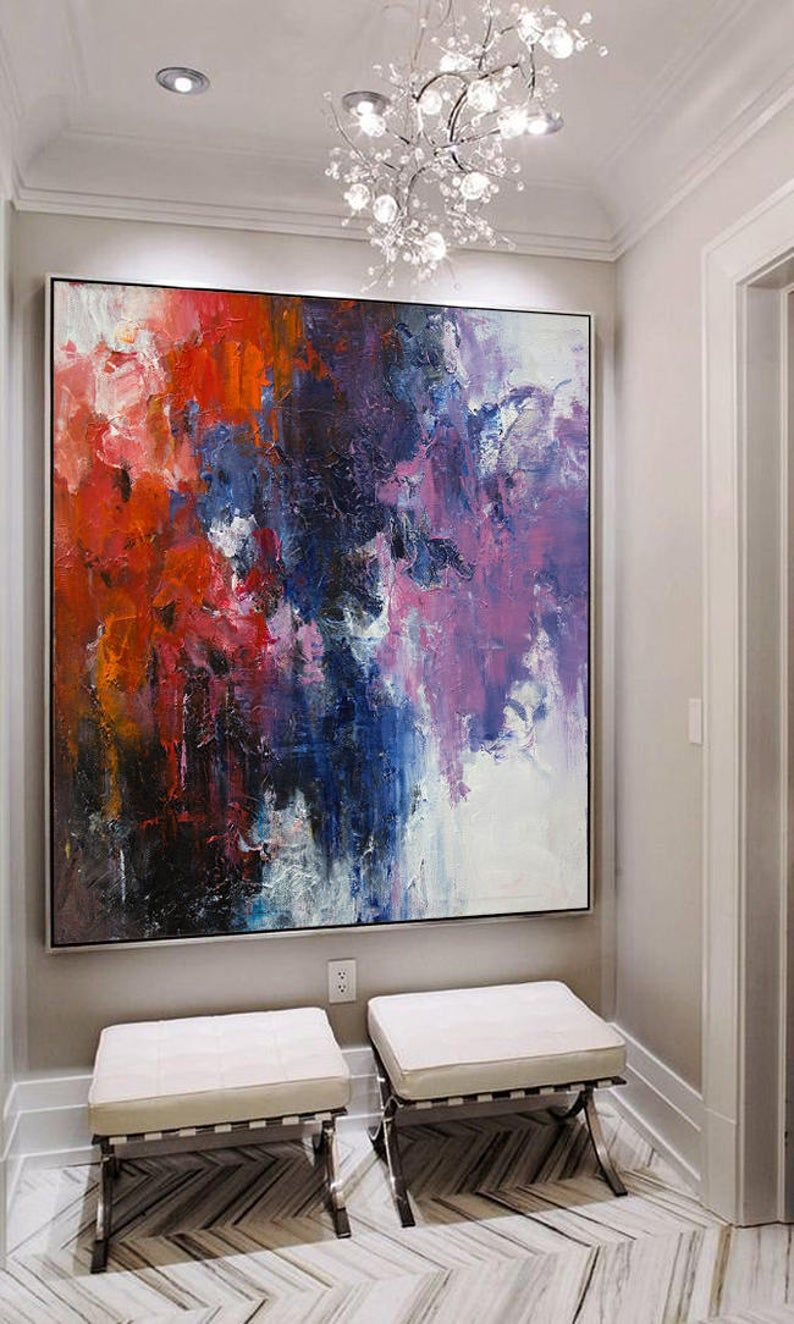 Extra Large Wall Art Abstract Painting Contemporary Art Blue