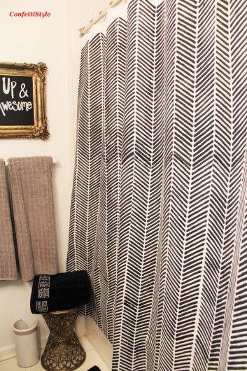 A Herringbone Stitch Stenciled Shower Curtain Stencil Stories Wall Stencil Bathroom Stencils Wall Kids Room Wall Decals