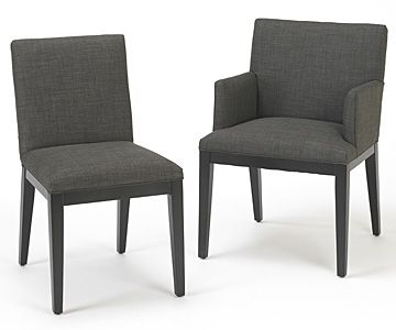 Square back dining chairs with and without arms shown in a ...
