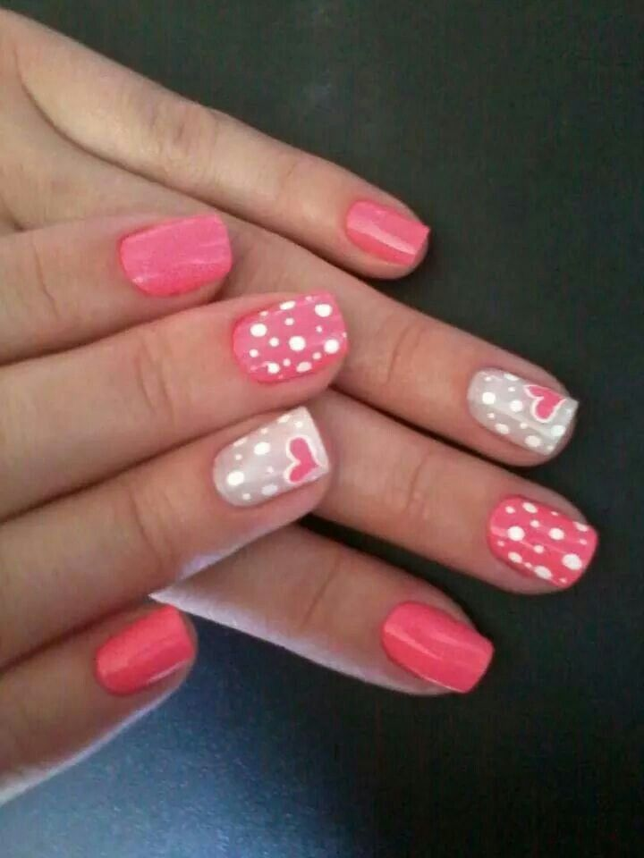 Corazones Y Puntos En Rosa Uñas Decoradas Pinterest Nails
