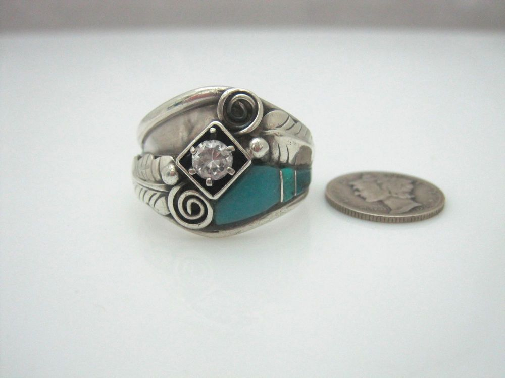 Navajo Glen Willie Sterling Silver Channel Inlay Turquoise CZ Ring Size 12.25