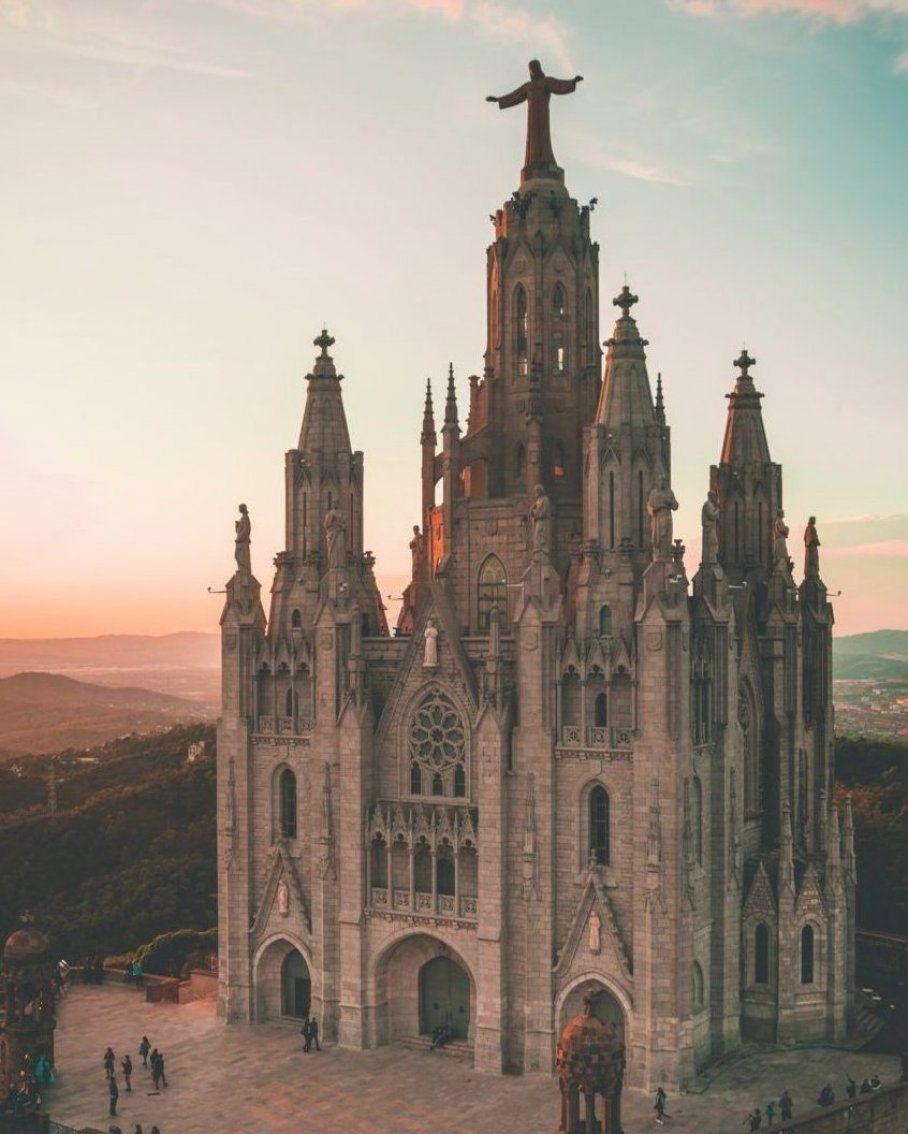View at Tibidabo in Barcelona  Spain  #