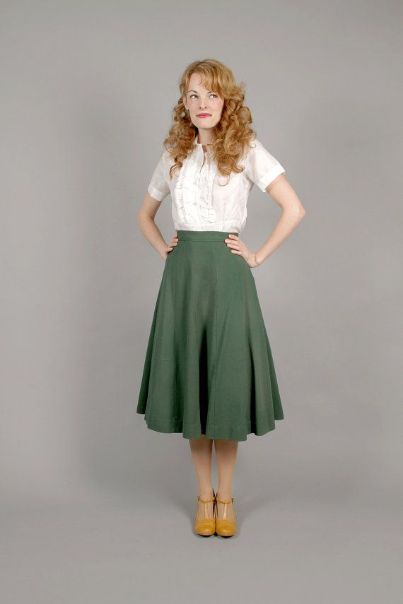 The Real And The Inspired By 1940s Fashion: 1940s WW11 Green Gabardine Wool Skirt / 40s Gabardine Wool