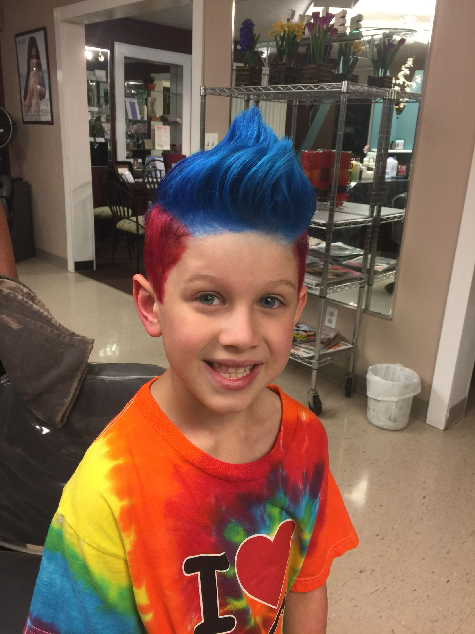 Red And Blue Boy Hair Boy Hairstyles Red And Blue Women