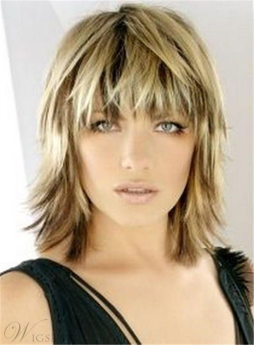 Bangs Layered Blonde Haircut Straight Synthetic Hair Capless Wig 12