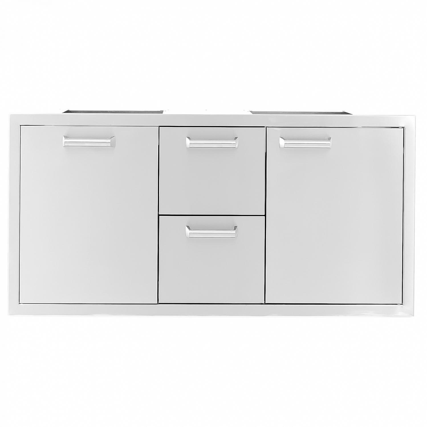 Sonoma Series 42 Inch Stainless Steel Door Double Drawer Roll Out Trash Bin Combo Stainless Steel Doors Steel Doors Trash Bins