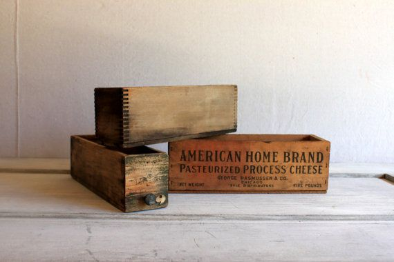 3 Small Wooden Crates Boxes Rustic Storage : by umbrellafant