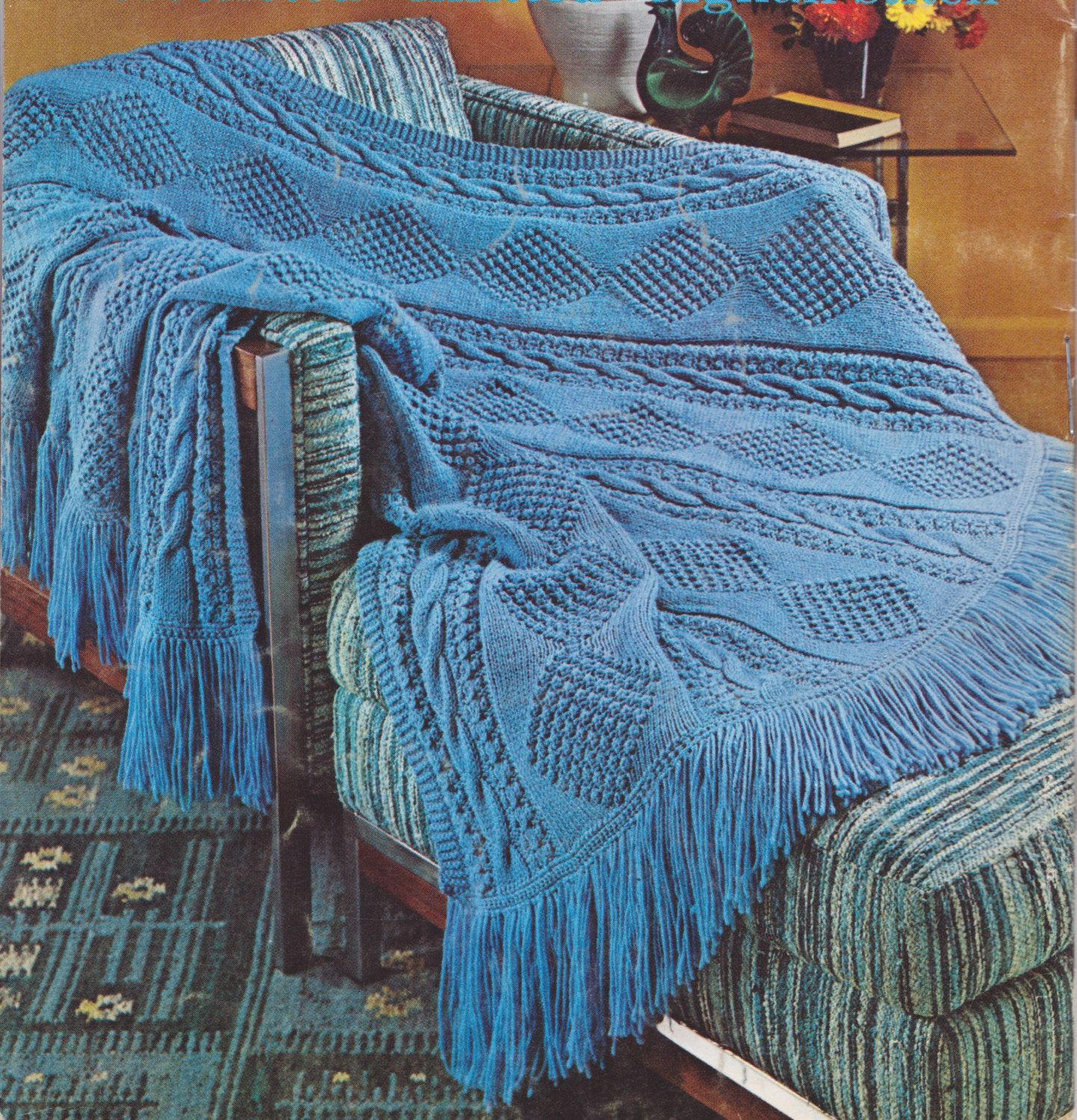 156 PDF Afghan Blanket Knitting Pattern, Bedding, Throw, Diamond and ...