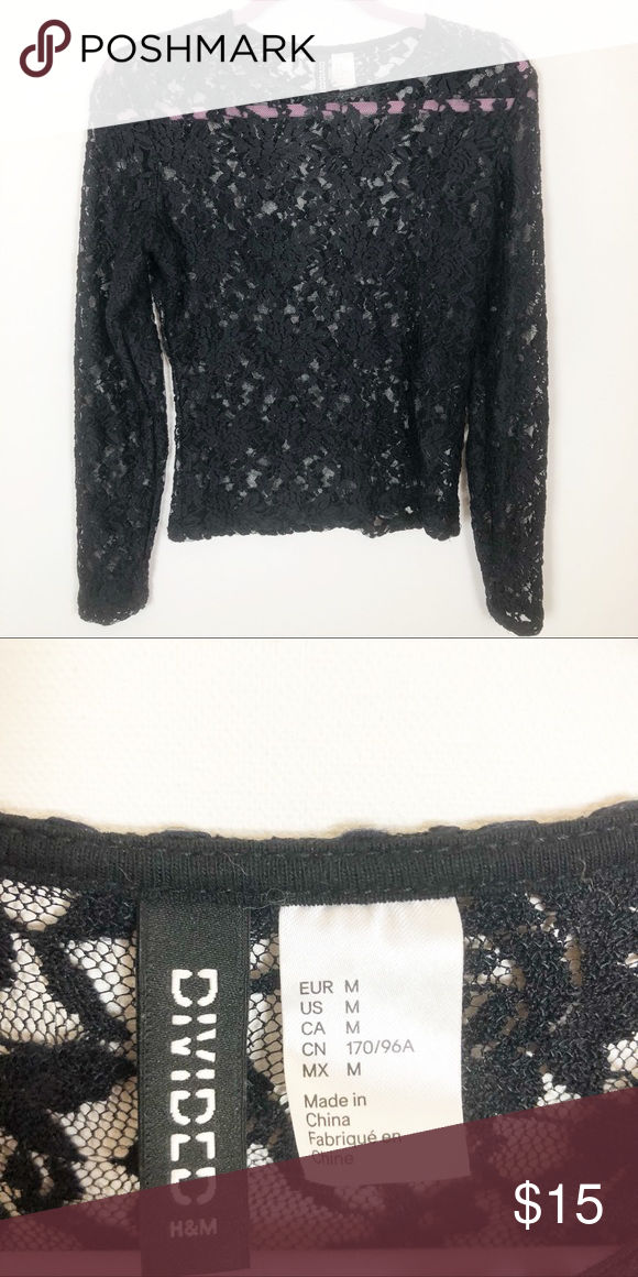 0a02f66a107290 H&M Divided Lace top H&M Divided Lace see through top. Really great for the  holiday season. Only worn once. Divided Tops Blouses