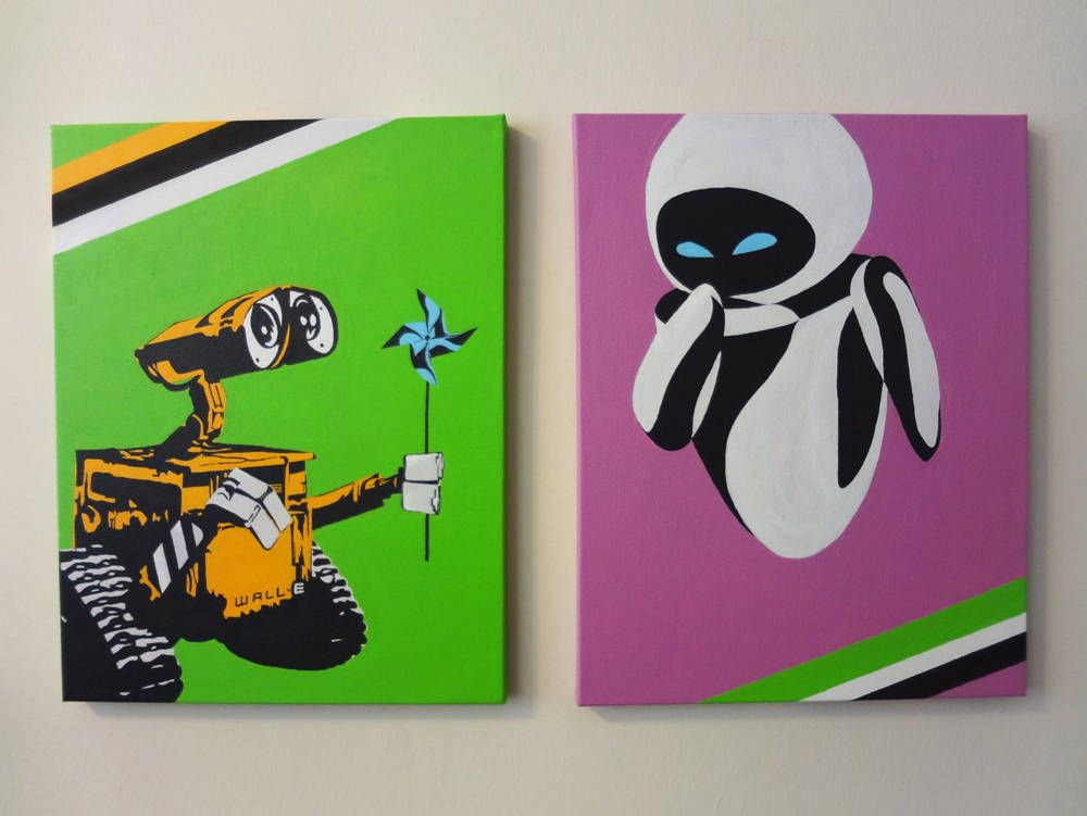 Wall E And Eva So Cute Hand Painted Pop Art From The