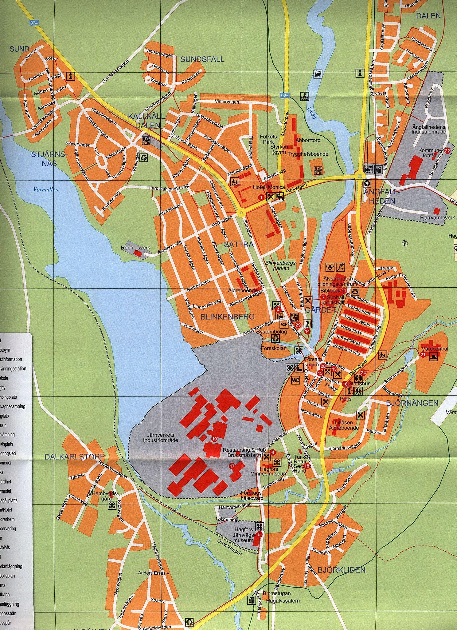 HagforsEkshärad Sunnemo Råda Uddeholm Besökskarta Visitors - Sweden map 2015