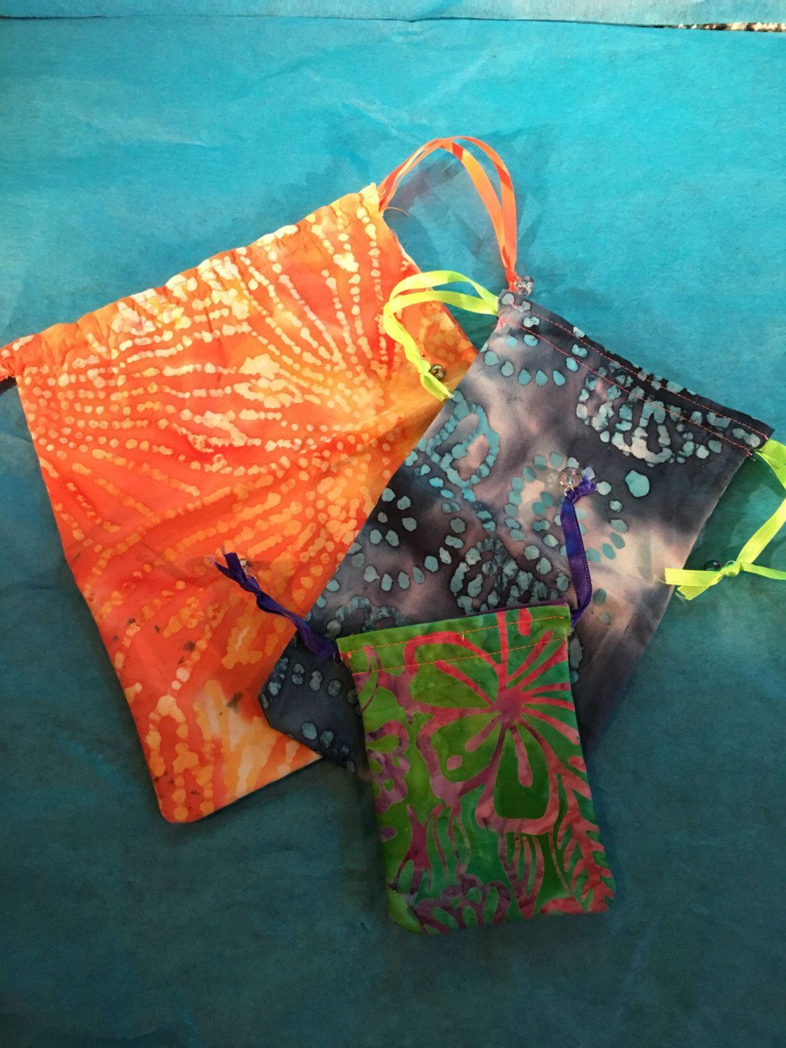 A personal favorite from my Etsy shop https://www.etsy.com/listing/385579684/batik-3-pack-drawstring-bags