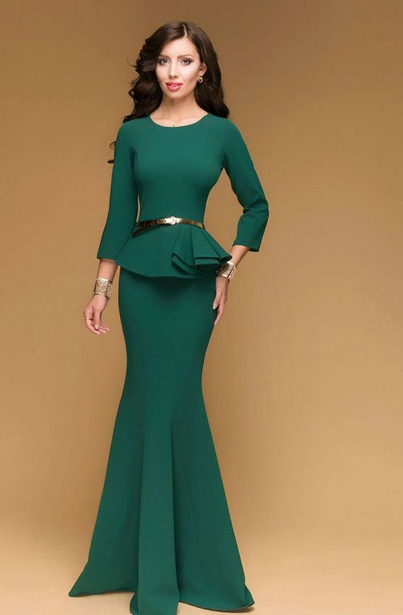 c1947cd1289 Green Prom Retro Dress.Long Occasion Dress With Peplum.Mermaid Dress Long  Sleeve