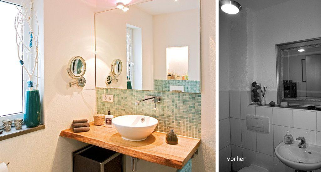 Attraktiv Badezimmer Waschtisch Eiche Holzblock Natur Waldkante Rustikal Modern,  Schreiner Langen