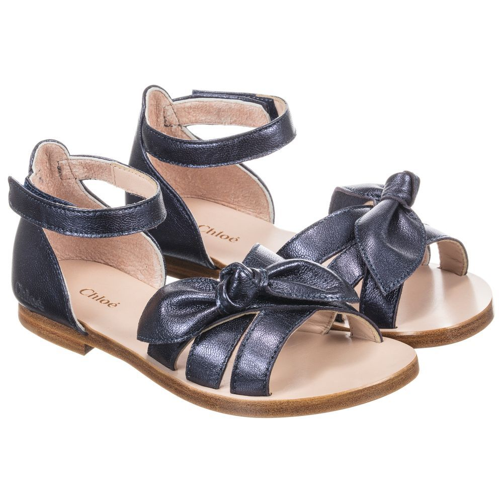 f2bb50cc3 Chloé Blue Bow Leather Sandals at Childrensalon.com Kid Shoes