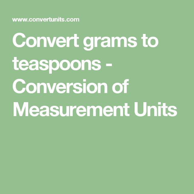 Convert Grams To Teaspoons
