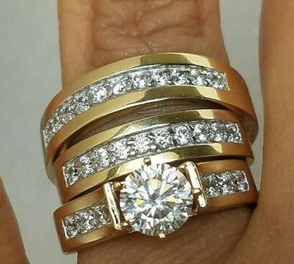 2 Ct 14K Yellow Gold Over Round Diamond His Her Engagement Wedding Trio Ring Set