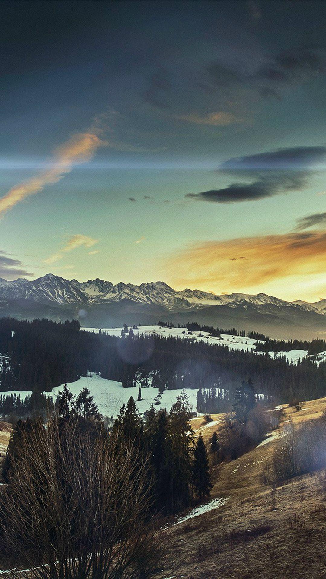 Fall Mountain Nature Sky Flare Sun iPhone 6 plus